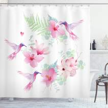 """Ambesonne Hummingbirds Shower Curtain, Tropical Flowers with Flying Hummingbirds Wild Nature Blooms, Cloth Fabric Bathroom Decor Set with Hooks, 84"""" Long Extra, Pink Purple"""
