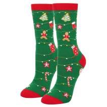 Novelty Food Christmas Socks, Funny Gingerbread Biscuits Cookies Gift for Women
