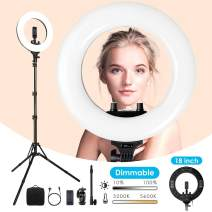 Ring Light 18 Inch, 【Upgraded】 amzdeal 3200-5500K Bi-Color Dimmable Lighting Kit with Tripod Stand, Smartphone Holder and Carrying Bag, for Selfie, Photography, Live Stream, Makeup, YouTube Video