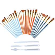 JOCMOON Paint Brushes Set,27Pcs Nylon Hair Brushes for Acrylic Painting,Watercolor Painting,Fabric Paint,Oil and Gouache Artist Professional Kits