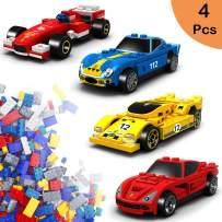Flantor Mini Building Blocks Sets 176pcs,Building Blocks Car Toys Set of 4 Race Vehicles and Race Car Building Brick Sets,Car Building Kits for KidsVehicle Sets Birthday Party Favors(4 Boxes)