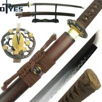 DTYES Full Handmade T10 Carbon Steel Clay Tempered Japanese Samurai Katana Sword/Shirasaya Sword, Functional, Full Tang, Sharp, Wooden Scabbard