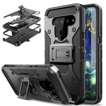 DONWELL LG V50 Case LG V50 ThinQ Case Hybrid Shockproof Heavy Duty Rugged Protective Cover with Kickstand and Belt Clip Holster Compatible for LG V50 / LG V50 ThinQ/LG V50 ThinQ 5G (Black)