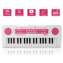 JINRUCHE Kids Piano, 37Keys Multi-Function Electronic Keyboard Piano Play Piano Organ Music Educational Toy for Toddlers Children (White)