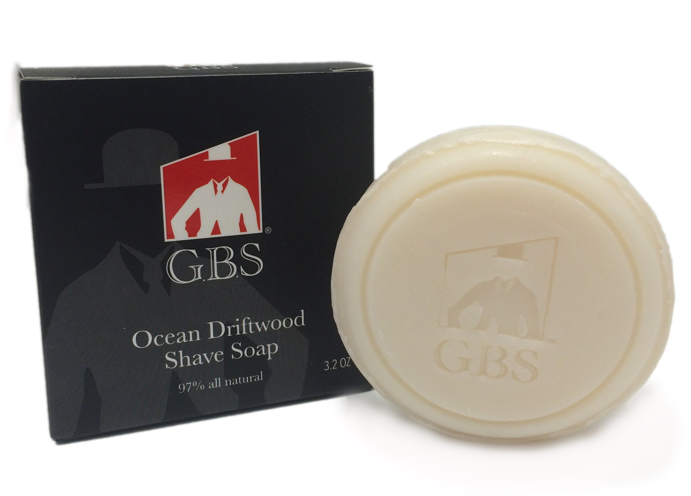 GBS Ocean Driftwood 97% All Natural Shave Soap Made in the USA - GBS (1) - Creates a Rich Lather Foam for Men and Women Ultimate Wet Shaving Experience