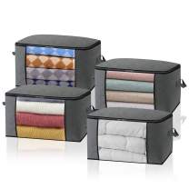 Large Thickened Storage Bags[4pack] 3 Layers Clothes Storage Bag Organizers Containers with Reinforced Handles Foldable with Sturdy Zipper, Clear Window for Bedding,Comforters, Blankets