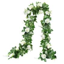 THE BLOOM TIMES 2 Pcs 15.6FT Artificial Rose Vine Silk Flower Garland Decoration Fake Hanging Plants Floral Garland for Home Wedding Arch Ceremony Wall Indoor Outdoor Decor, White