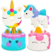 R HORSE 4 Pack Unicorn Squishy Set Narwhale Cake, Unicorn Cake, Unicorn Donut, Rainbow Horse Kawaii Cream Scented Squishy Soft Decompression Squeeze Toys Kids Stress Relief Toy Hop Prop