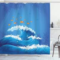 "Ambesonne Marine Shower Curtain, Underwater with Group of Fish and Wave in The Ocean Coral Reef Illustration, Cloth Fabric Bathroom Decor Set with Hooks, 75"" Long, Blue Orange"