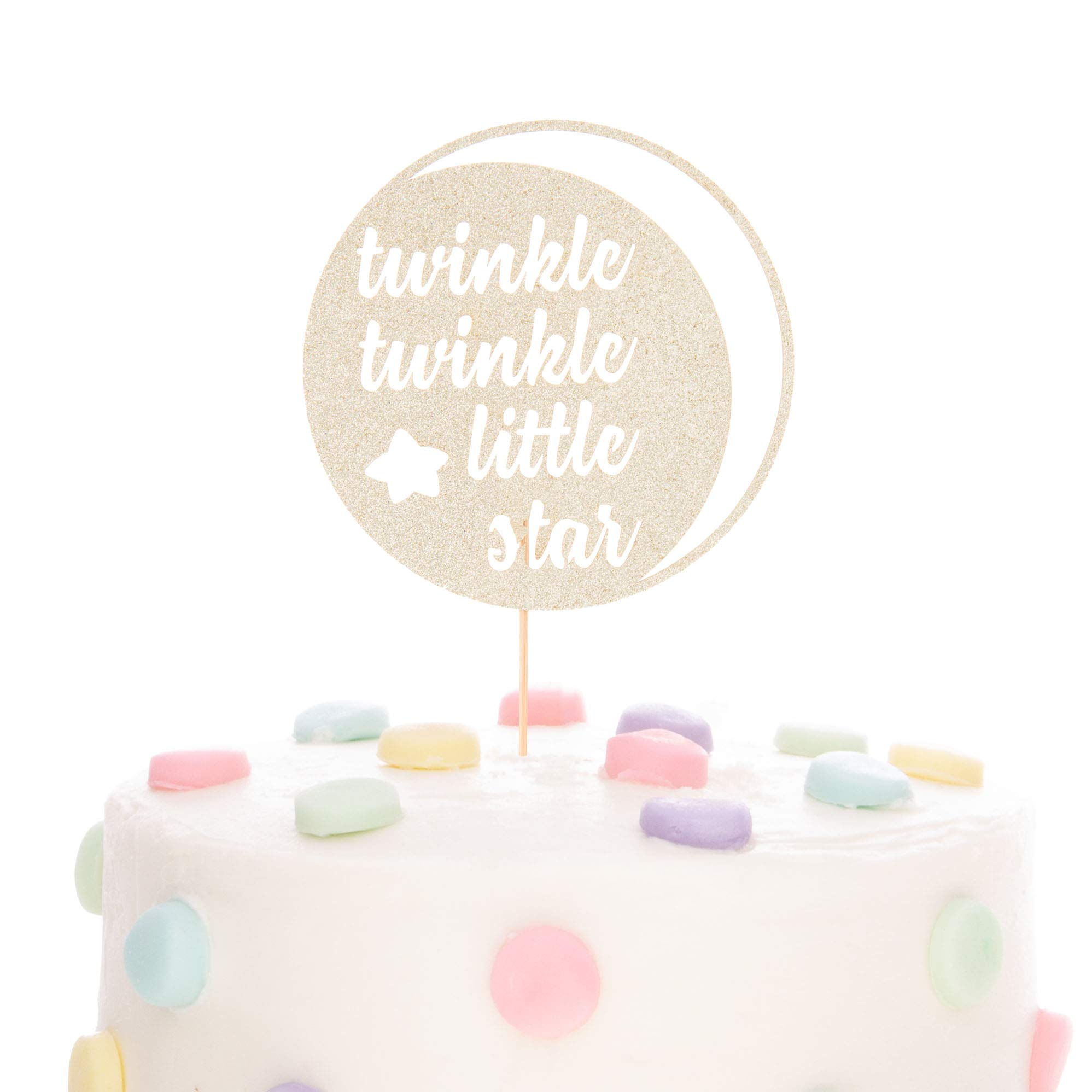 Ella Celebration Twinkle Twinkle Little Star Cake Topper Glitter Double Sided Cardstock Paperboard Toppers Baby Shower Gender Reveal Photo Props Paper Decor for 1st Birthday (Twinkle Moon Light Gold)