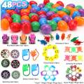 """Poptrend Easter Eggs 48Pcs Filled Easter Eggs 2 ³⁄₈"""" Tall Perfilled Plastic Colorful Easter Hunt, Basket Stuffers Fillers, Classroom Prize Supplies, Filling Treats and Party Favor"""
