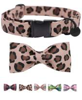 DOGWONG Cotton Dog Collar with Bowtie for Small Medium Large Dogs Plaid Pet Collar Comfortable Dog Collar,Bowtie Dog Collar Adjustable XS-XL