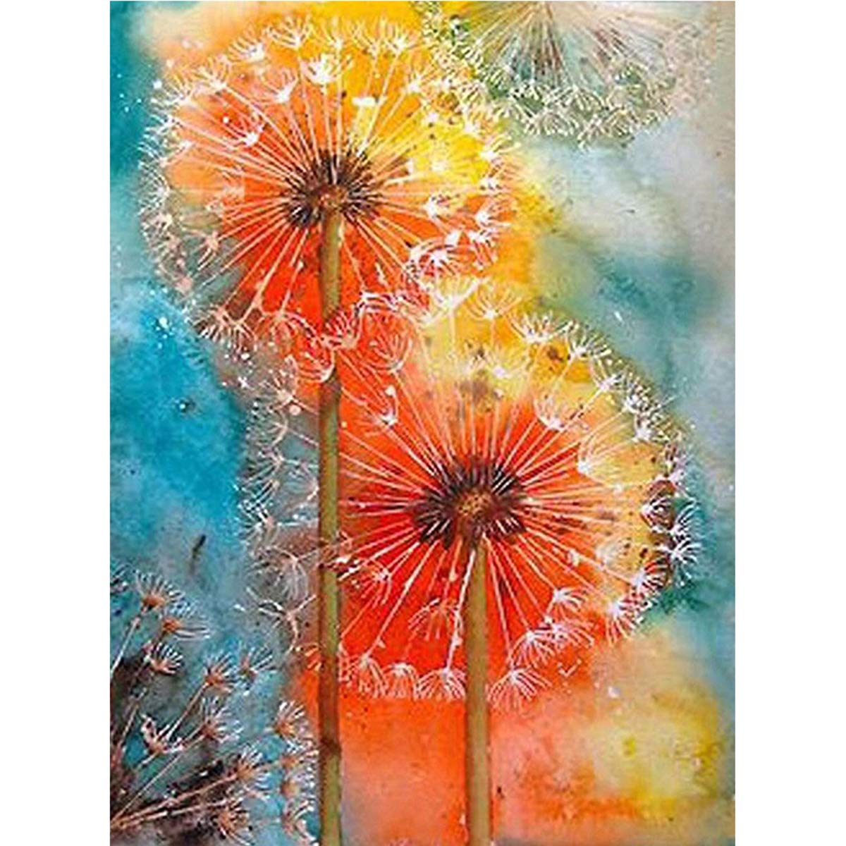 DIY 5D Full Diamond Painting Kit Square Diamonds Art Kit by Numbers Rhinestone Embroidery for Wall Decoration Dandelions 11.8X15.7inch