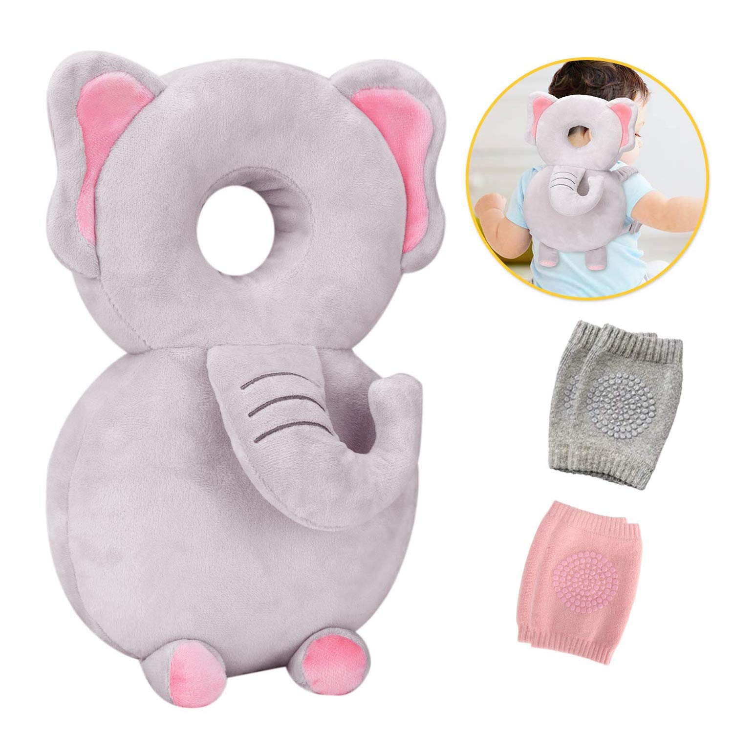 Toddler Baby Head Protection & Baby Knee Pads for Crawling and Walking, Babies Head Safety Pad Cushion Adjustable Backpack Suitable for 4-24 Months (Elephant & Pink & Gray)