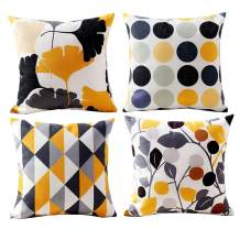 """Mocofo Cotton Linen Yellow Decorative 2-Sided Throw Pillow Case Cushion Cover Geometry Series 18""""X18"""""""