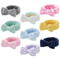 9 Pcs Spa Headband Soft Bow Hair Band Skincare Headbands for Washing Face Women Facial Makeup Towel Head Band Cute Head Wraps for Spa Shower Makeup Whasing Face (Pattern 4)