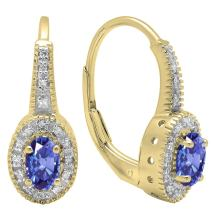 Dazzlingrock Collection 18K 6X4 MM Each Oval Gemstone & Round Diamond Ladies Halo Style Hoop Earrings, Yellow Gold
