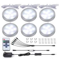 Puck Lights - Under Cabinet Lighting, Wireless LED Puck Light 6 Pack with Remote Control, Under Counter Lighting for Kitchen Closet Shelf (Stick On Lights) (Cool White 6000K, 6 Pack)