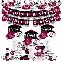 Big Dot of Happiness Maroon Grad - Best is Yet to Come - 2020 Burgundy Graduation Party Supplies - Banner Decoration Kit - Fundle Bundle