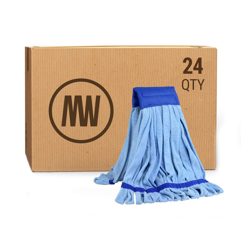 Bulk Large Microfiber Tube Mop Head (18 oz.) | Wholesale Commercial Industrial Wet Mops | Machine Washable | Blue | Case Quantity (24 Count)