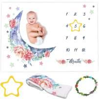 "Kemina Blankets Baby Monthly Milestone Blanket Boy or Girl - 60""x40"" Premium Soft Fleece , Baby Milestone Blanket Includes Star, Floral Wreath, Growth Chart Milestone Blanket for Newborn, Baby Shower"