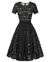 Genhoo Women's Bridesmaid Vintage Tea Dress Floral Lace Cocktail Formal Swing A-Line Dress with Short Sleeve