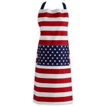 DII 4th of July Kitchen Collection 100% Machine Washable Cotton for Entertaining, Cooking, Baking or Barbeques, Apron, American Flag
