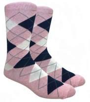 Ivory + Mason Light Pink with Blue Argyle Dress Socks for Groomsmen - Men's Socks - Argyle Light Pink with Blue