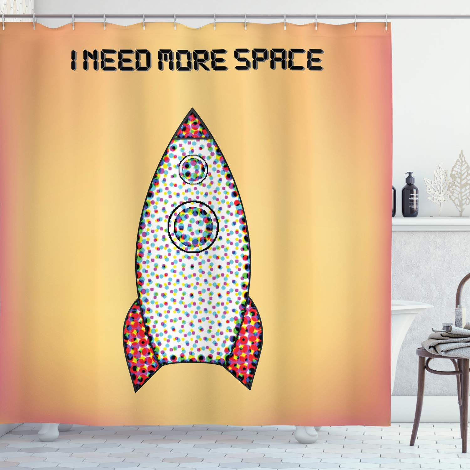 """Ambesonne Vintage Shower Curtain, Words with Radiant Tone Futuristic Spaceship Rocket Moon Cosmos Universe Humor Art, Cloth Fabric Bathroom Decor Set with Hooks, 70"""" Long, Yellow Coral"""