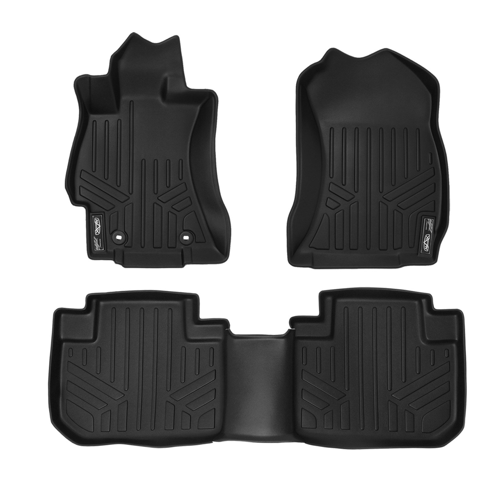 MAXLINER Custom Fit Floor Mats 2 Row Liner Set Black for 2014-2018 Subaru Forester