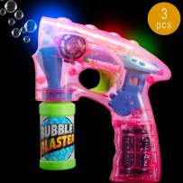 Lumistick Light-Up 7 Inch Bubble Blaster Gun   Transparent Glowing LED Blower Machine   Ultra Bright Glinting Air Bubbles Wand   Summer Games Toy (Pink, 3 Blasters)