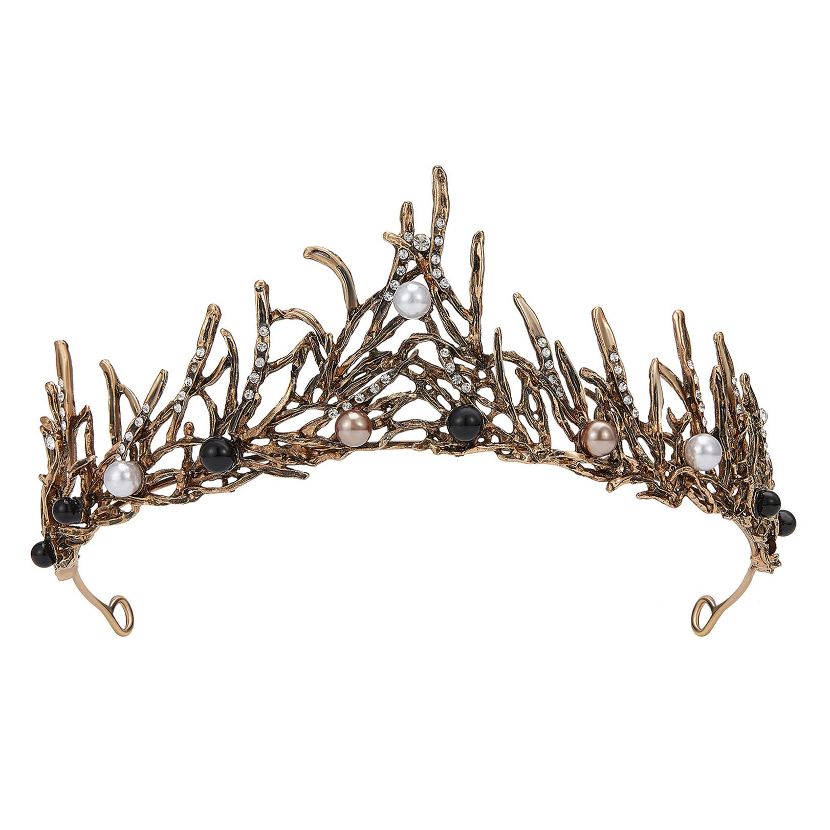 SWEETV Gothic Crown Goth Tiara, Black Tiaras and Crowns for Women Girls, Bronze Costume Headpiece for Wedding Birthday Party Cosplay Halloween with Pearl