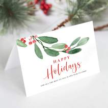 Bliss Collections Happy Holidays Folded Christmas Greeting Cards with Envelopes, 4x6 Greenery Foliage Winter Design (25 Pack)