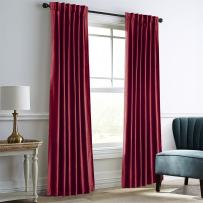 """Dreaming Casa Darkening Burgundy Velvet Curtains for Living Room Thermal Insulated Rod Pocket Back Tab Window Curtain for Bedroom 2 Panels 84"""" W x 84"""" L"""
