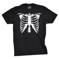 Mens White Skeleton Rib Cage Funny Halloween Costume T Shirt