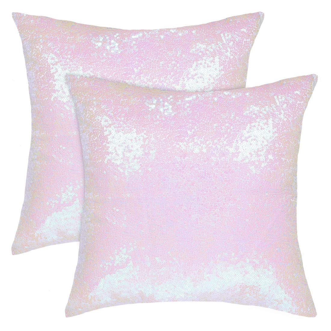 uxcell Pack of 2,Sequin Throw Pillow Covers,Shiny Sparkling Comfy Satin Cushion Covers,Decorative Pillowcases for Party/Christmas/Thanksgiving/New Year,16 x 16 Inch, Starry Pink
