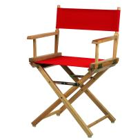 "Casual Home Director's Chair ,Natural Frame/Red Canvas,18"" - Classic Height"