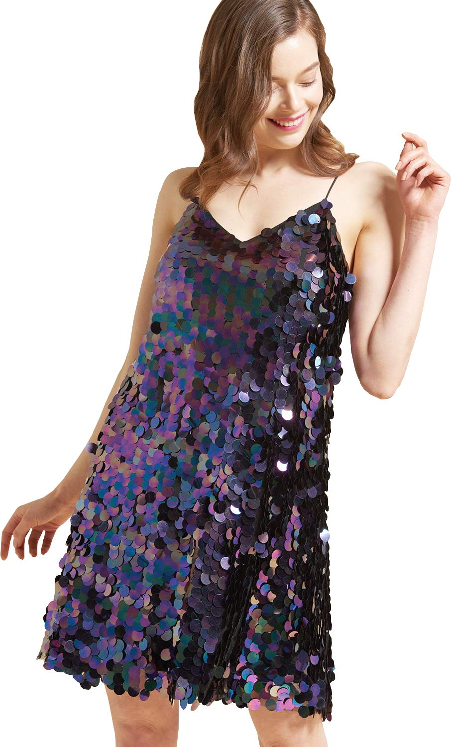 May You Be Women's V Neck Loose Fit Large Sequin Sleeveless Party Slip Dress