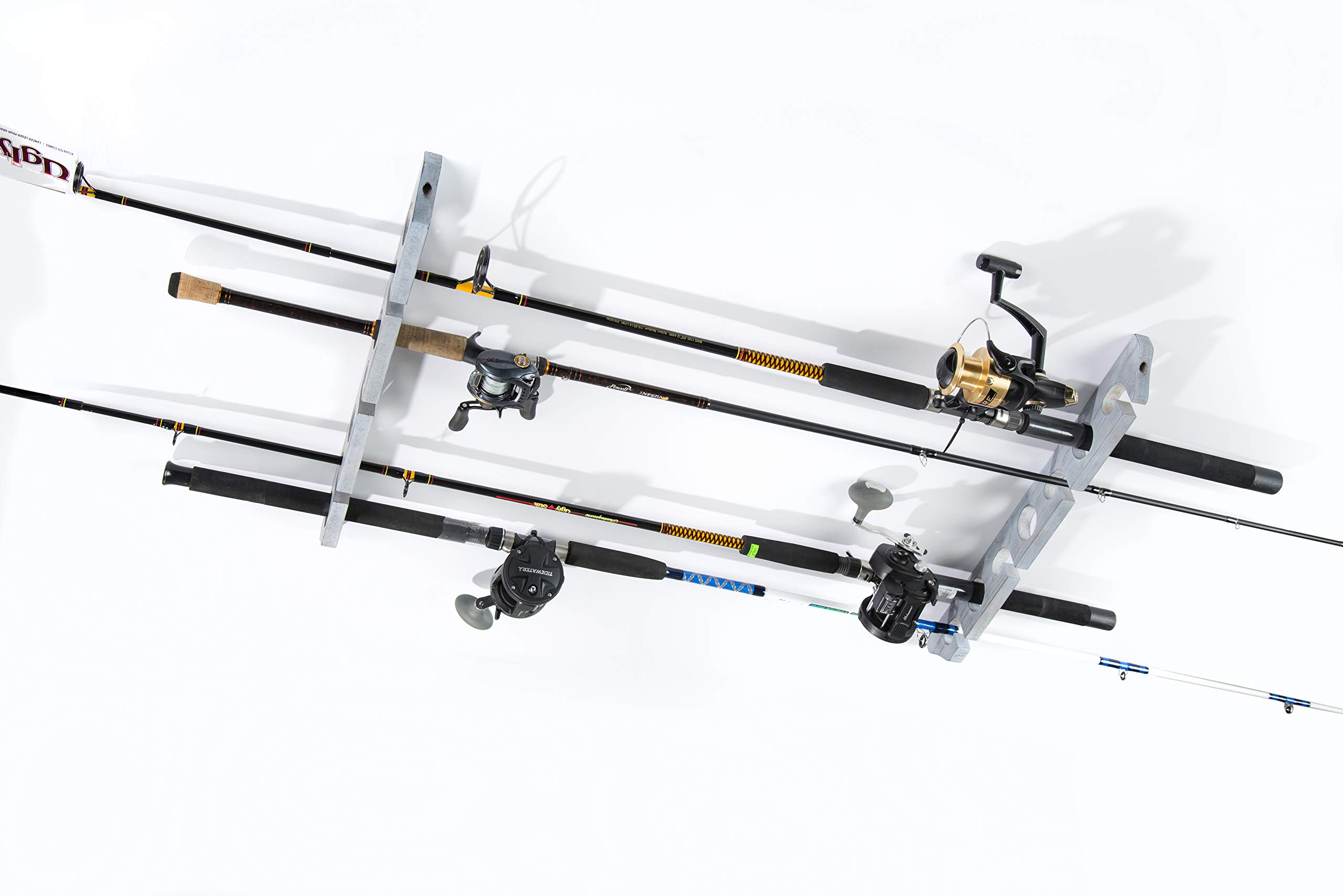 Organized Fishing Distressed Finish Ceiling Rack. Accomodates Up to 7 Rods or Combos. Oversized to Handle Most Salt Water Rods.