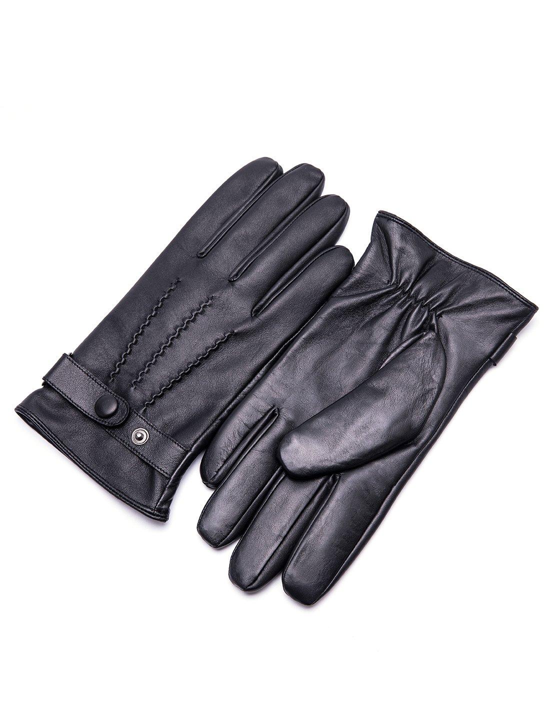 YISEVEN Men's Touchscreen Warm Fleece Fur Lined Sheepskin Leather Gloves