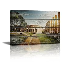 """wall26 - Canvas Prints Wall Art - Colosseum in Rome on Vintage Wood Background Rustic Home Decoration - 24"""" x 36"""""""