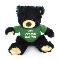 Plushland Black Noah Teddy Bear 12 Inch, Stuffed Animal Personalized Gift - Custom Text on Shirt - Great Present for Mothers Day, Valentine Day, Graduation Day, Birthday (Kelly Green Shirt)