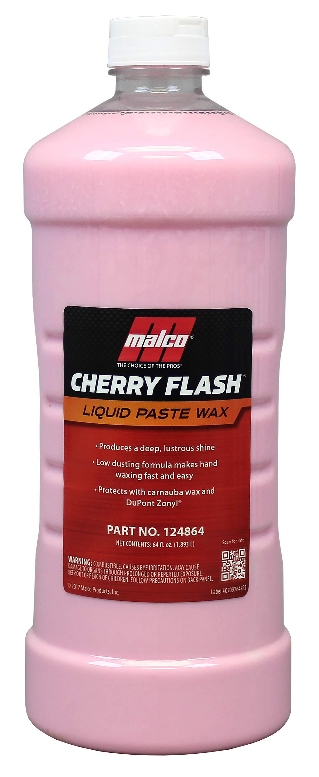 Malco Cherry Flash Automotive Liquid Paste Wax – Protect & Shine Your Vehicle/Easiest Way to Hand Wax Your Car/Lasting Gloss & Protection for Cars, Trucks, Boats and Motorcycles / 64 Oz. (124864)