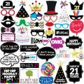 21st Birthday Photo Booth Party Props - 40 Pieces - Funny 21st Birthday Party Supplies, Decorations and Favors