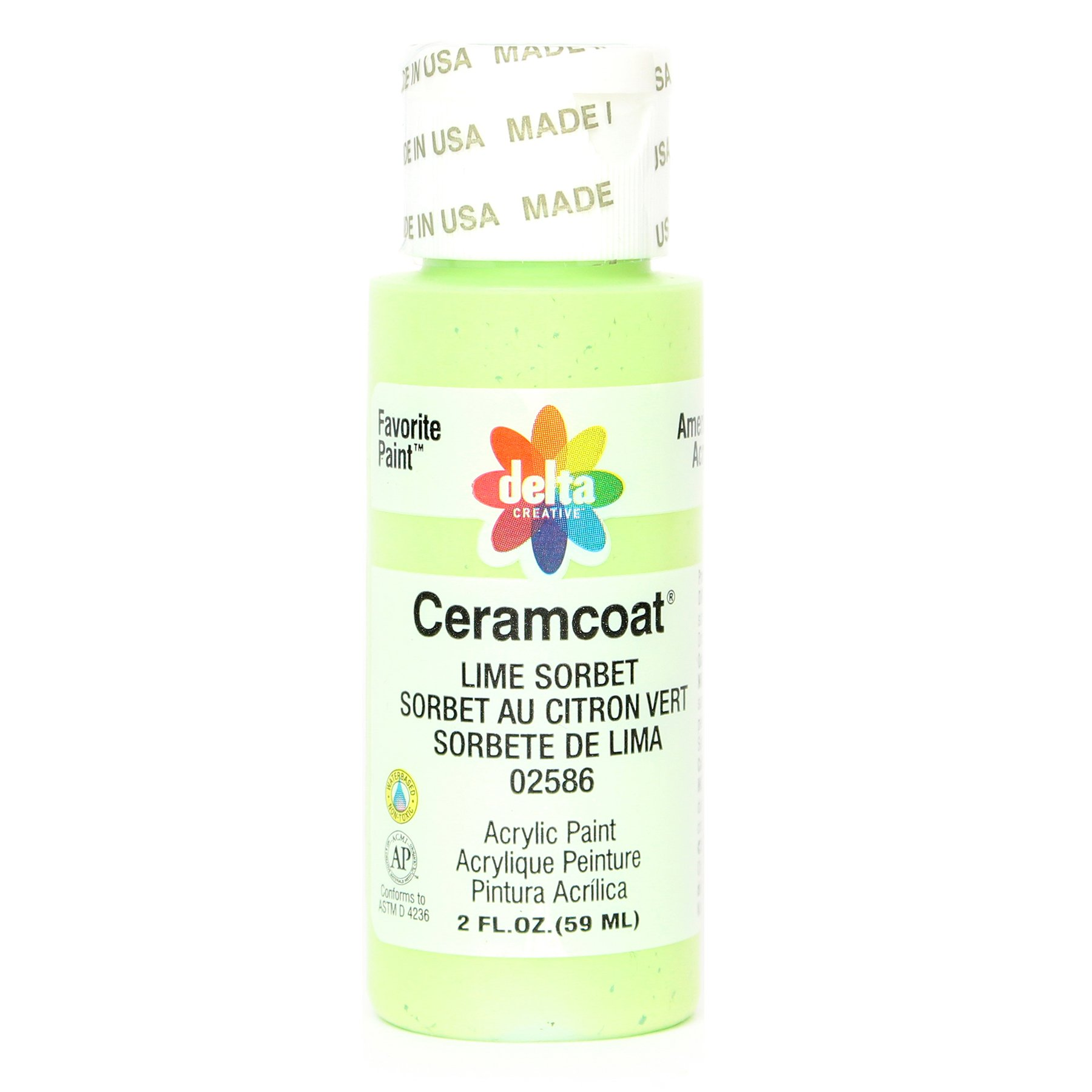 Delta Creative Ceramcoat Acrylic Paint in Assorted Colors (2 oz), 2586, Lime Sorbet