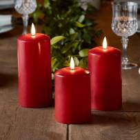 Lights4fun, Inc. Set of 3 TruGlow Red Wax Flameless LED Battery Operated Pillar Candles with Timer