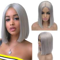 Short Bob Human Hair None Lace Front Wigs 180% Density Grey Middle Part Bob Wigs Colored Machine Made Wigs for Black Women Brazilian Virgin Real Hair Wig Silky Straight Glueless No Glue No Gel 8 Inch