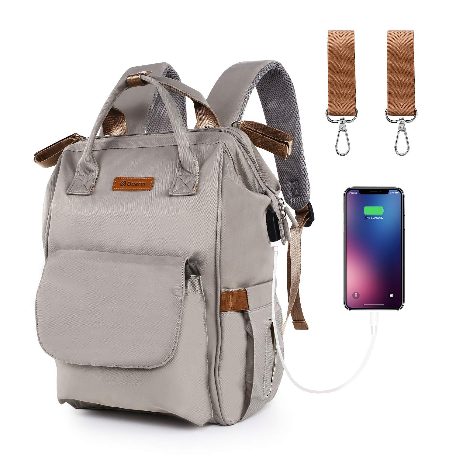 Diaper Bag Backpack, Duerer Multi-Function Waterproof Travel Baby Changing Bag with USB Charging Port Stroller Straps, Maternity Baby Nappy Bag, Large Capacity, Stylish Organizer for Baby Care - Gray