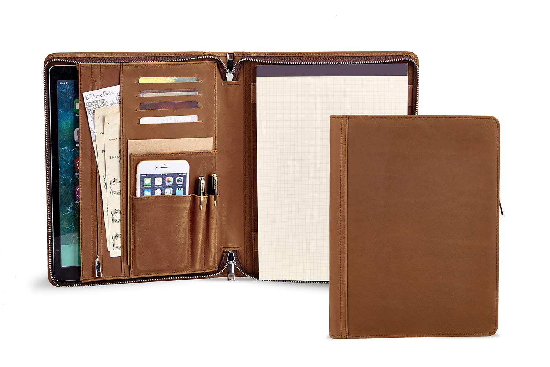 Handmade Vintage Leather Portfolio for Letter Size Notepad, Busienss Document Organizer Folder Folio, Travel Padfolio for Men (Non-Custom, Brown)