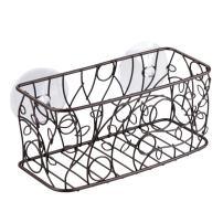 "iDesign Twigz Decorative Steel Bathroom Suction Organizer Basket - 9"" x 4"" x 4"", Bronze"